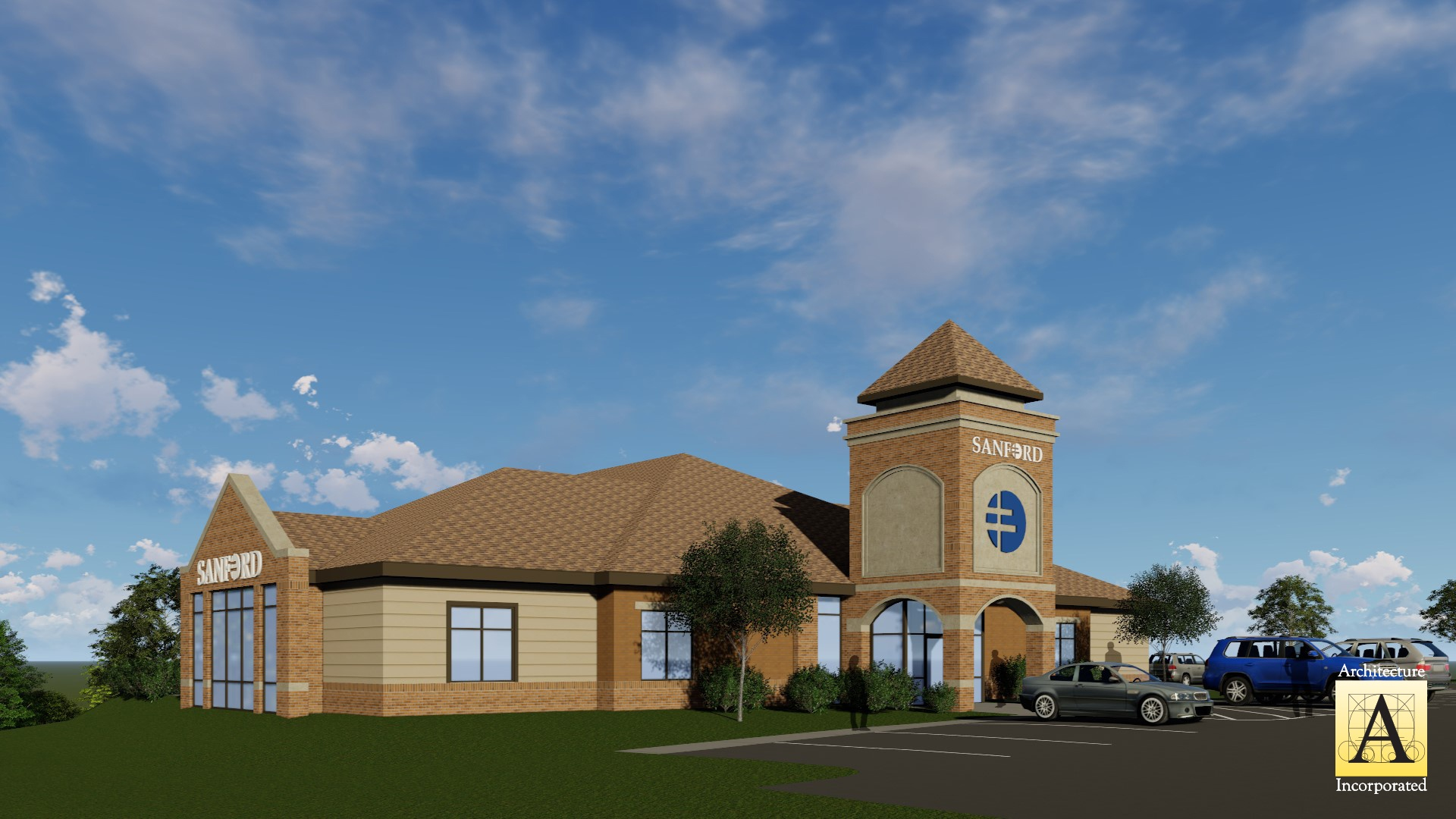 Rendering of the new Sanford Clinic in Rock Rapids, Iowa | Fiegen Construction